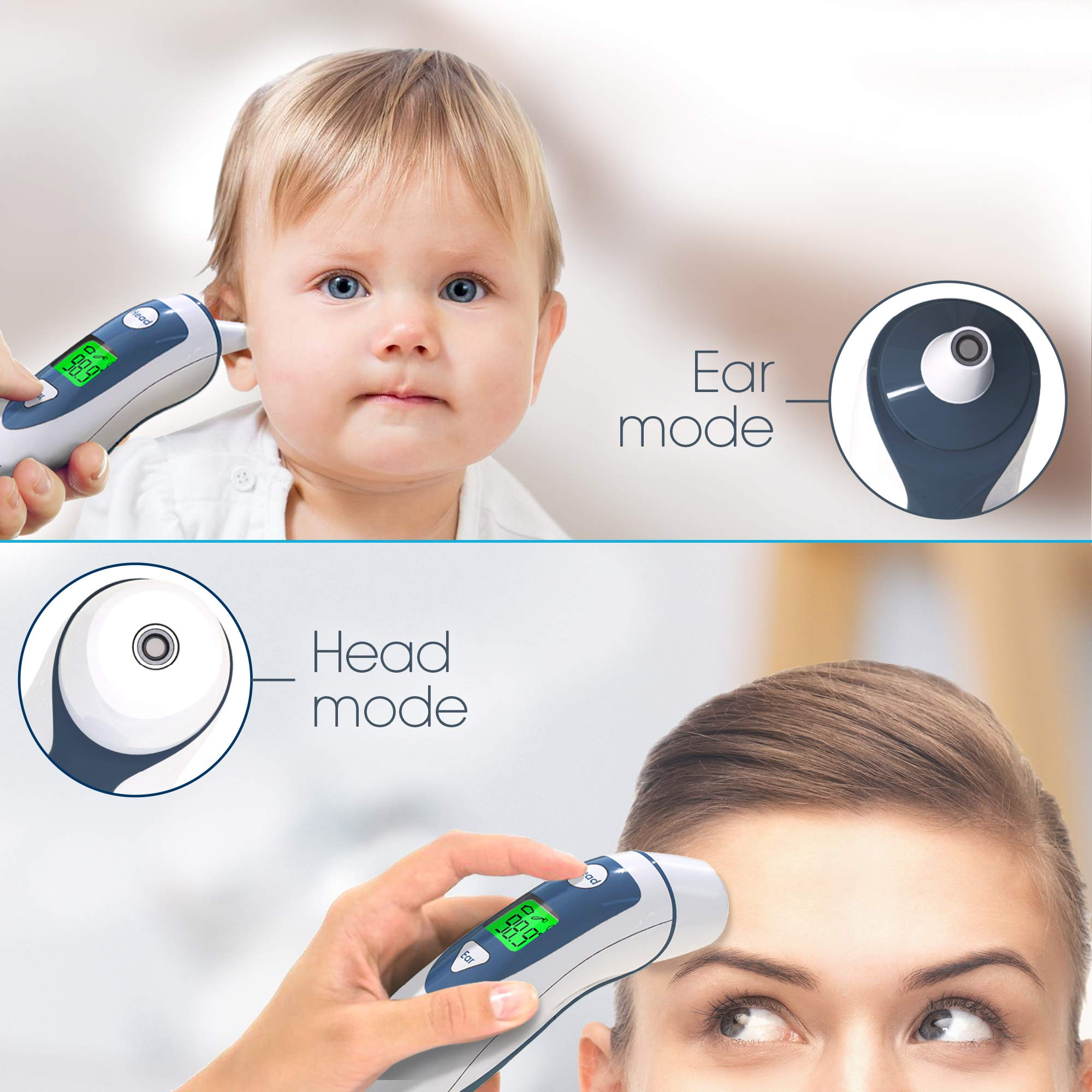 Ear Thermometer with Forehead Function - FDA Approved for Baby and Adults - iProven DMT-489 - Upgraded Infrared Lens Technology for Better Accuracy - New Medical Algorithm (White Grey) by iProvèn (Image #3)