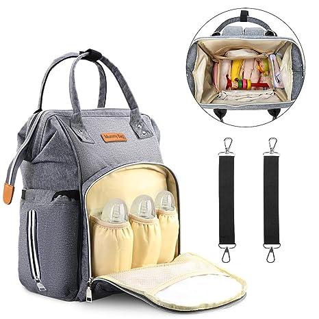WOSTOO Mochilas para Pañales, Mochila de Pañales de Viaje Multifuncional, Material Impermeable, Gran Capacidad Bolso para Bebés y Mamá