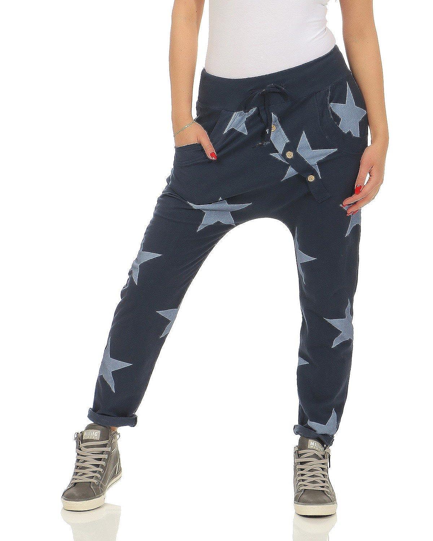 ZARMEXX Ladies Sweatpants Baggy Boyfriend with button facing Leisure Pants Jogging Pants Cotton Trackies Yogapants Jogger Loose fit Big Star One Size