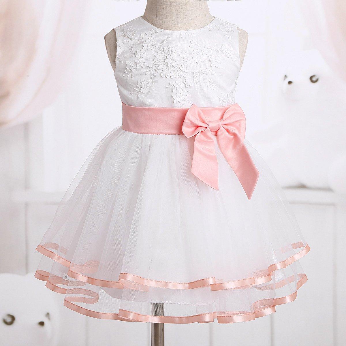 iiniim Baby M/ädchen Kleid Festlich Kleid Blumenm/ädchenkleid Prinzessin Taufkleid Hochzeit Baby Kleider F/ür 0-24 Monate