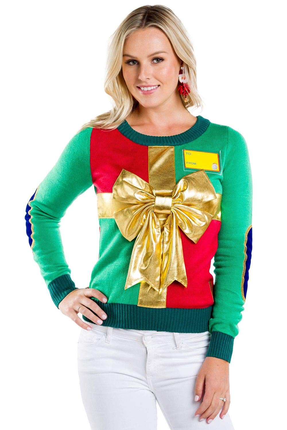 Tipsy Elves Women's Sweater - Cute Wrapping Paper Christmas Sweater