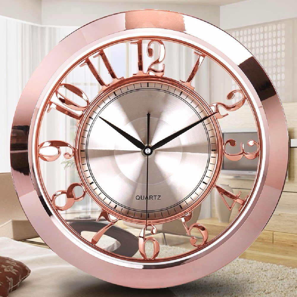 WAWZJ Wall Clock Sweep 16 Inch Clock European Round Quartz Clock,Rose Gold