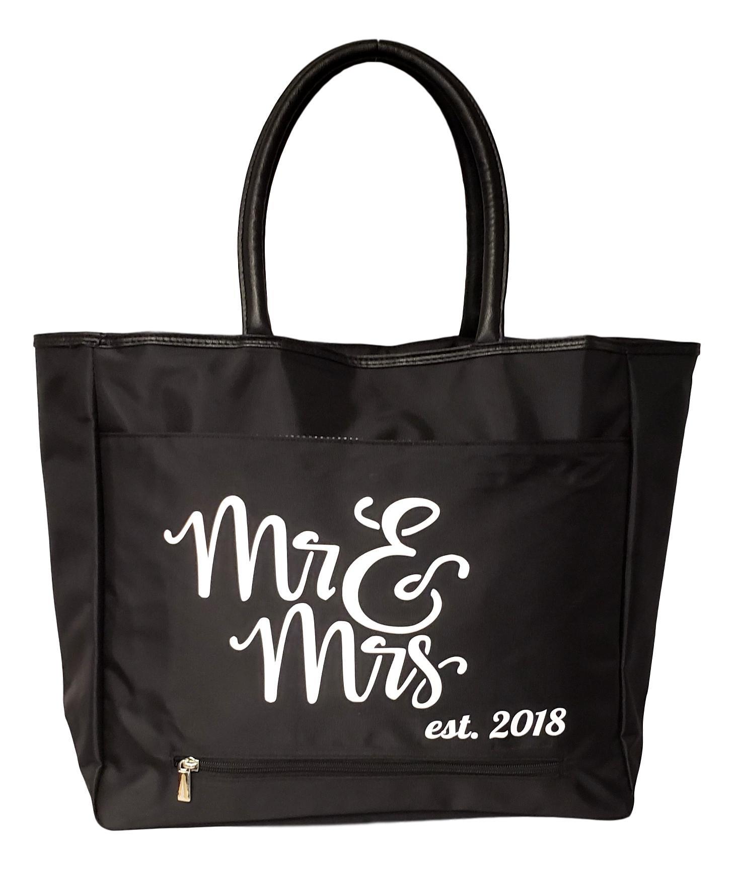 Mr & Mrs Bride Large Black Organizing Travel Companion Purse Handbag Bag (Mr & Mrs 2018)