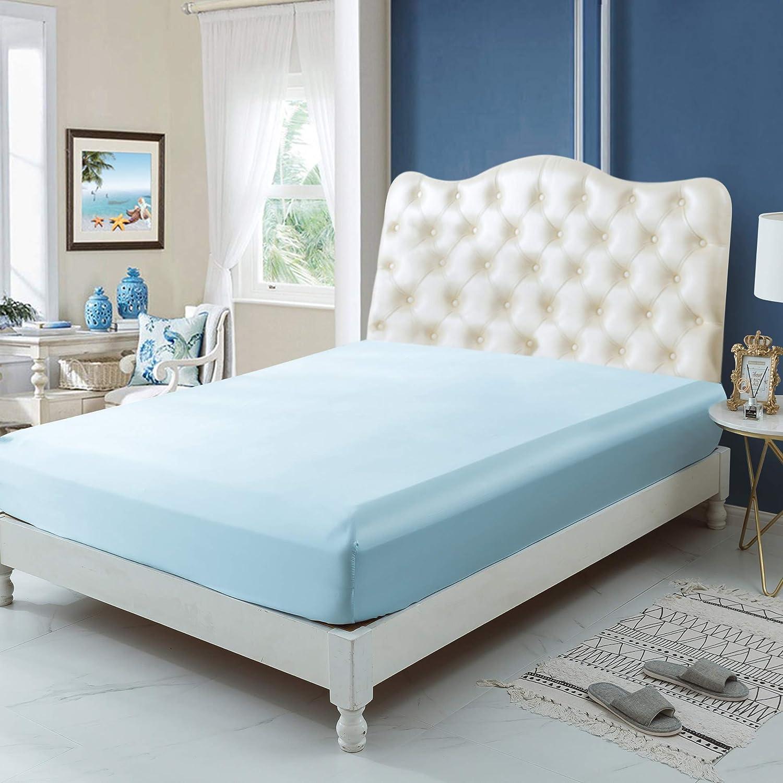 ZIMASILK マルベリーシルク100% ボックスシーツ シームレス寝具セット 深いポケット付き 両面19匁シルク 1枚 クイーン ブルー B07QTPNTPN ライトブルー クイーン