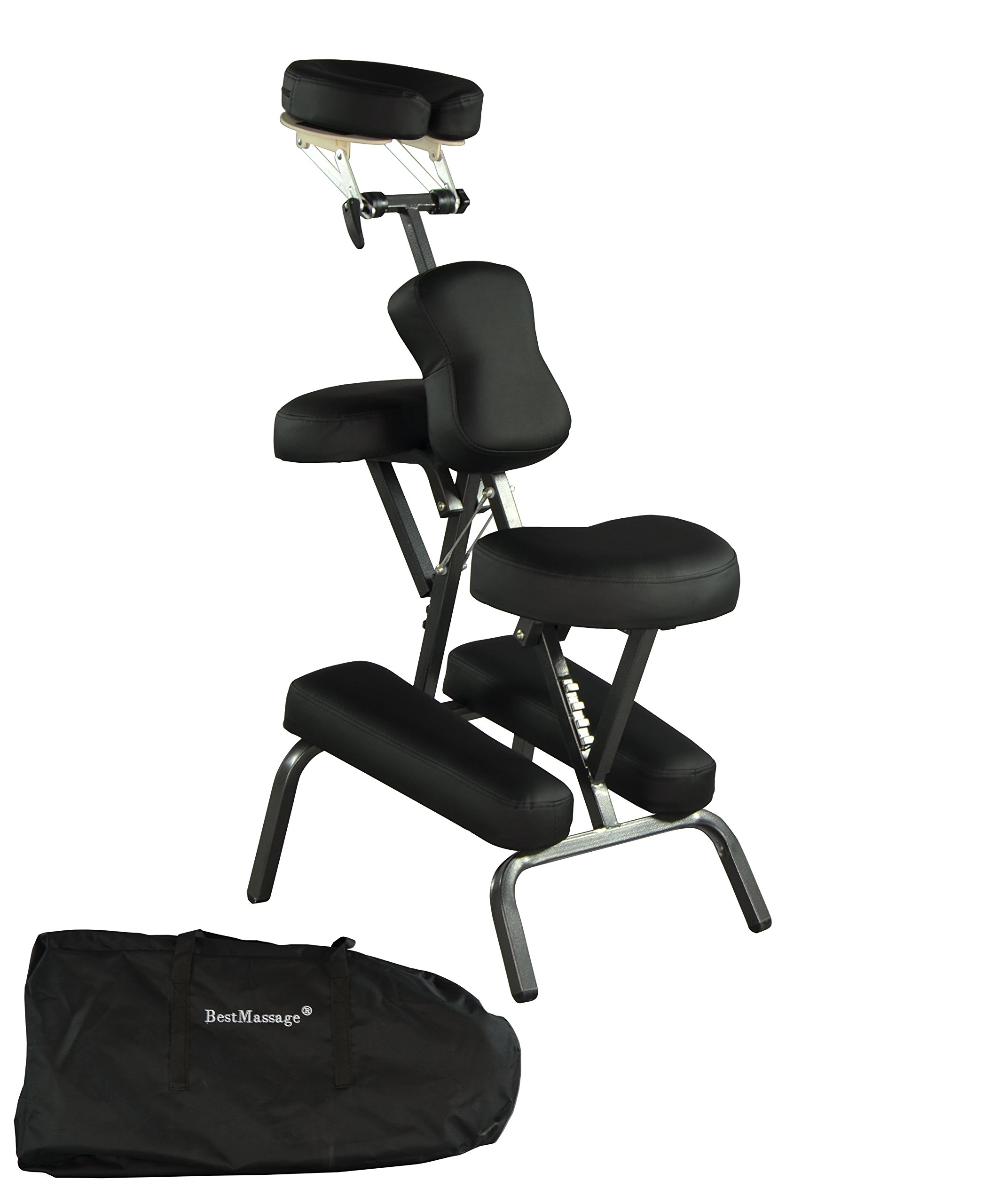 Portable Massage Chair Comfort 4'' Thick Foam Light Weight Best Massage Brand With Free Carrying Bag BLACK