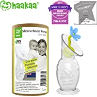Haakaa Silicone Breast Pump with Suction Base and Flower Stopper 100% Food Grade Silicone BPA PVC and Phthalate Free (4oz/100ml) (Blue)