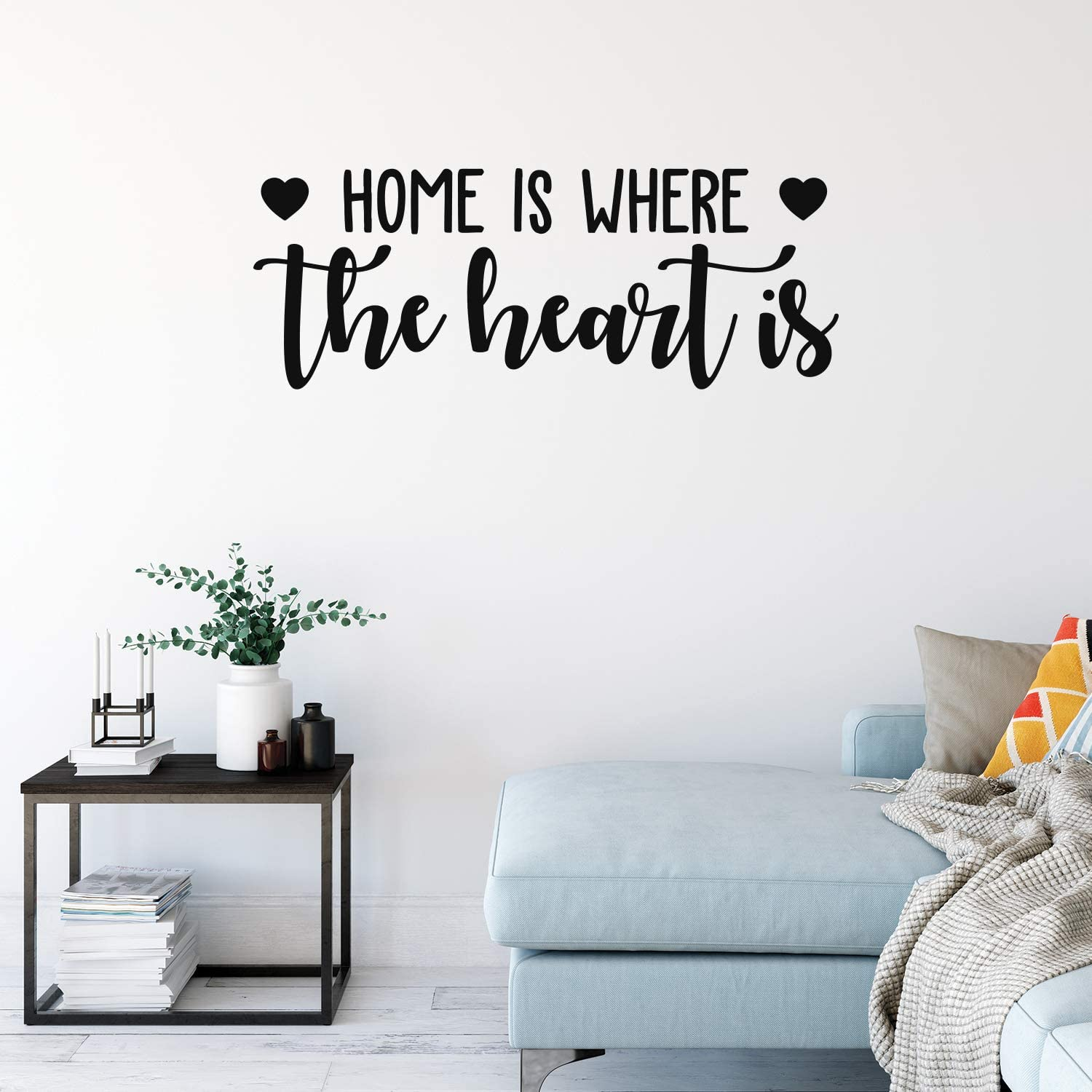 """Vinyl Wall Art Decal - Home is Where The Heart is - 14"""" x 38"""" - Modern Inspirational Love Quote Sticker for Family Living Room Dining Room Bedroom Entryway Decor (Black)"""