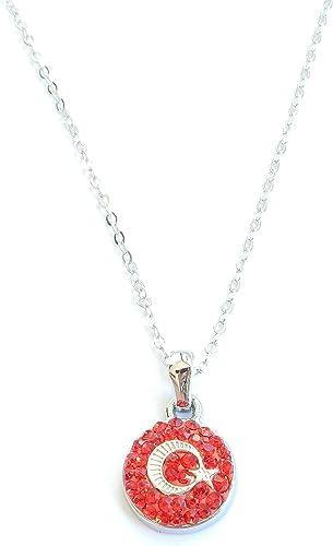 Remi Bijou Schöne Halskette Kette Anhänger Türkische Flagge Rot Strass Silber Farbe Stern Türkei Bayrak Ay Yildiz Amazon De Schmuck