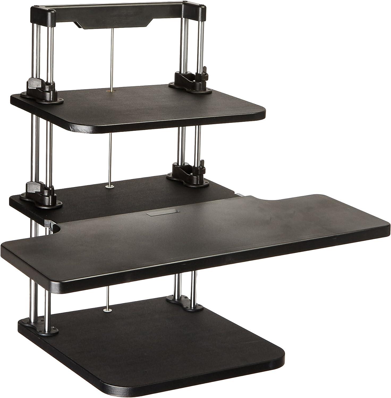 Pyle Sit Stand Desk, Height Adjustable Stand Up Desk, Computer/Laptop Stand Up Computer Workstation W/2 Adjustable Shelf Trays, Free Standing Desk - Black Finish (PSTNDDSK36)