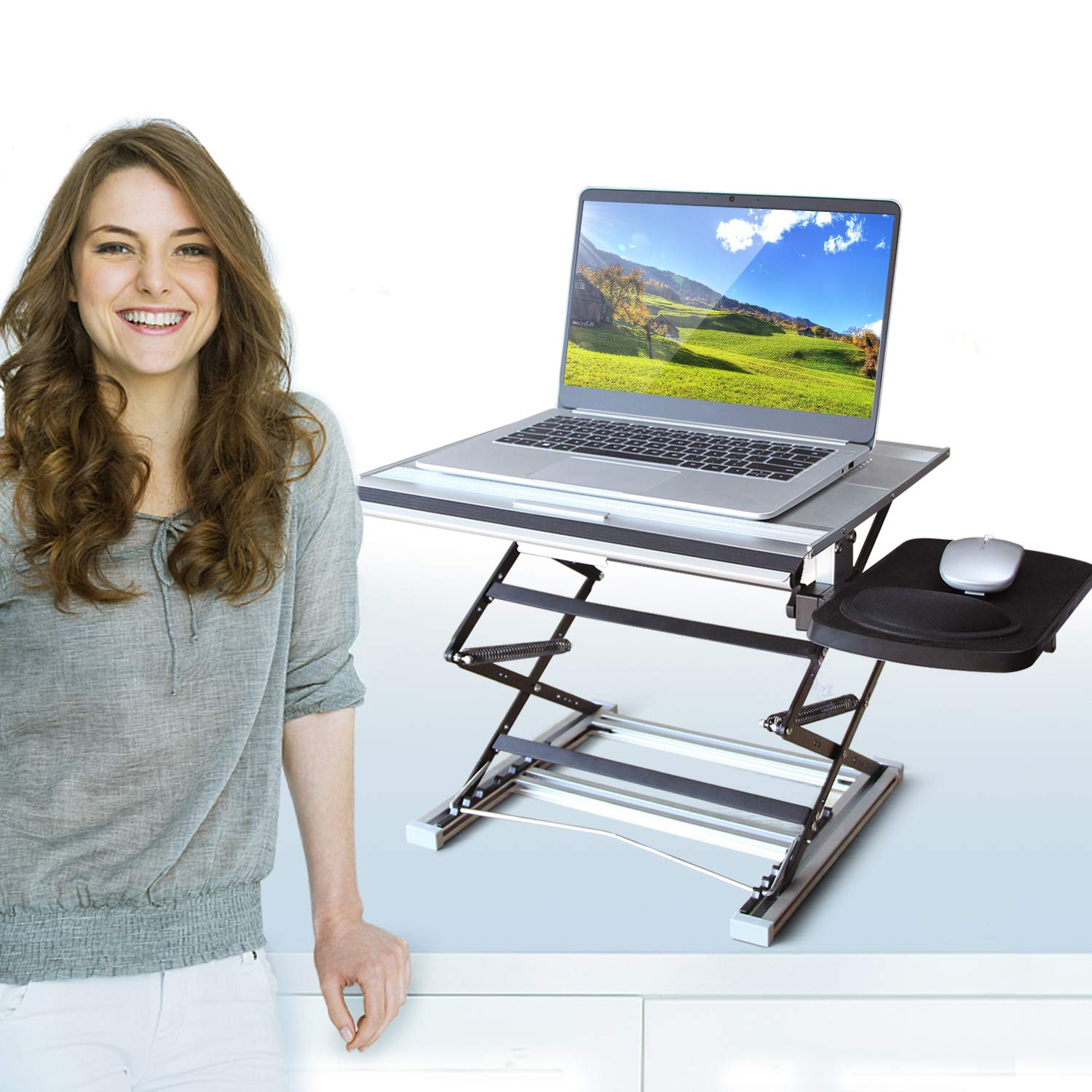 UPPEL Laptop Desk, Height Adjustable 7 Heights 3 Angles Stand Up Desk Use as a Portable Holder for Writing, Standing Desk and Home Office Folding Laptop Table