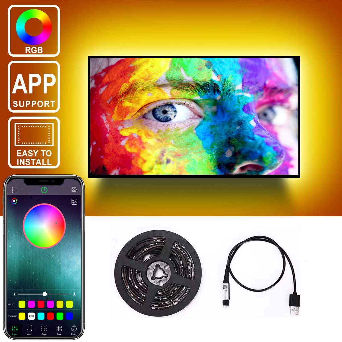 Amazon com: KKMIAO 6 5ft USB TV Backlight kit, APP Control