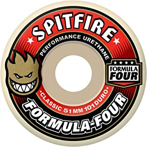 Spitfire Formula 4 101d White W Red Skate Wheels (53 mm)