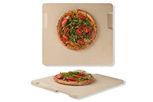 "Pizza Stone Baking & Grilling Stone, Perfect for Oven, BBQ and Grill. Innovative Double - faced Built - in 4 Handles Design (14"" x 16"" x 0.67"" Rectangular)"