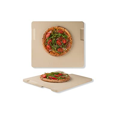 Pizza Stone Baking & Grilling Stone, Perfect for Oven, BBQ and Grill. Innovative Double - faced Built - in 4 Handles Design (14  x 16  x 0.67  Rectangular)