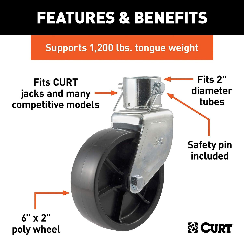 "1,200 lbs RAM Jack Zinc Coated 6/"" Caster Wheel W// Pin"