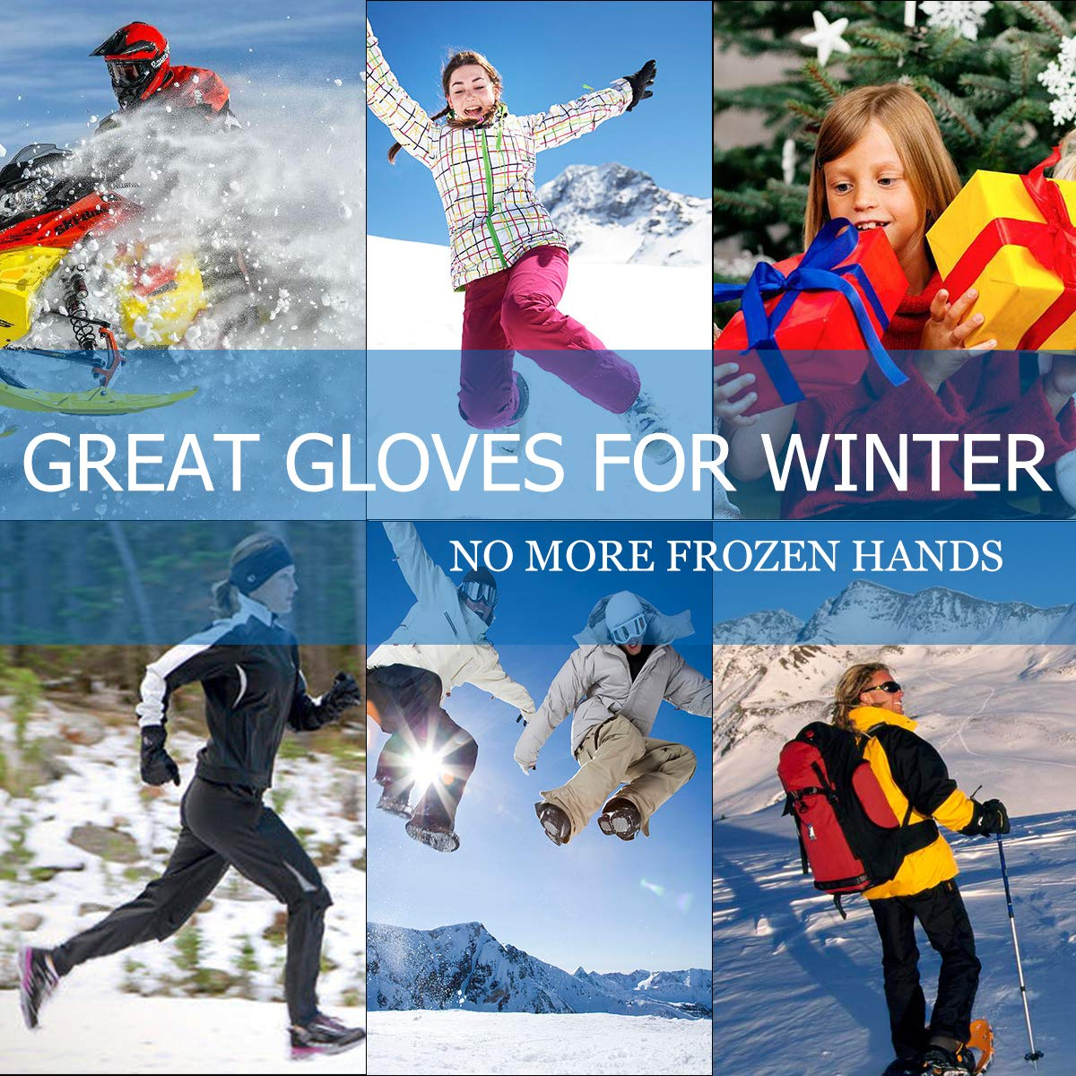 Snowboarding,Men Women Hiking Motorcycle Snow Winter Warm Outdoor Cycling Heated Gloves Electric Hand Warmer Rechargeable Powered Li-ion Battery up to 6 Hours