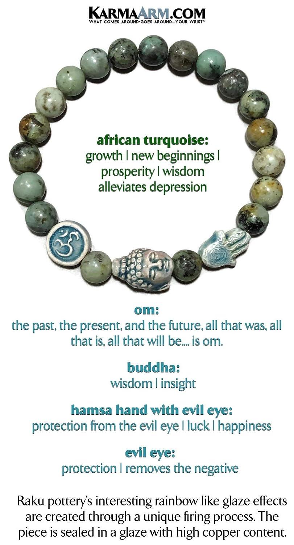 Meditation Spiritual Stretch Reiki Healing Energy Boho Charm Chakra Wrap Yoga Buddhist Jewelry /& Gemstone Gifts Happiness African Turquoise OM Mantra Hamsa Hand Evil Eye Bracelets Buddha