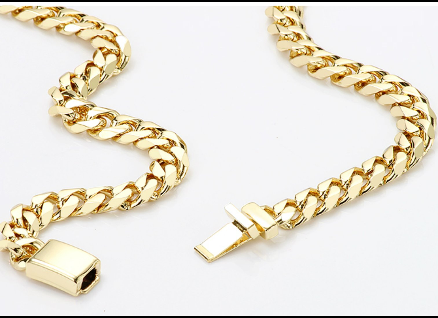 Gold chain necklace 14.5MM 24K Diamond cut Smooth Cuban Link with Warranty Of A LifeTimeLifetime USA made (28) by 14k Diamond Cut Smooth Cuban (Image #5)