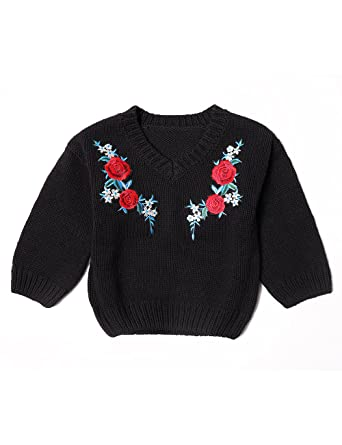 e118bf437 Amazon.com  Deerbabi Toddler Baby Girls Knit Embroidery Sweater ...