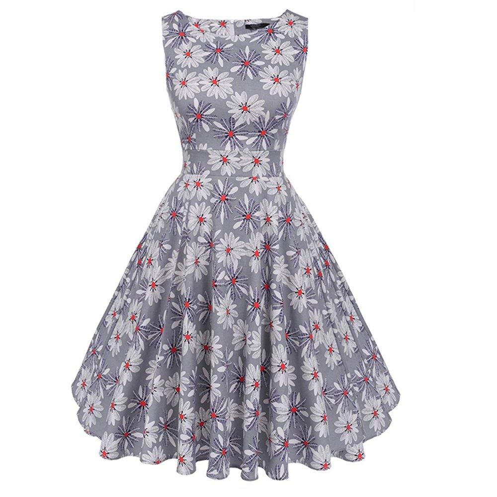 YAMEE Damen Sommerkleid Retro Chic ärmellos Kleid Cocktailkleid Rockabilly Swing Kleid Minikleid Knielang