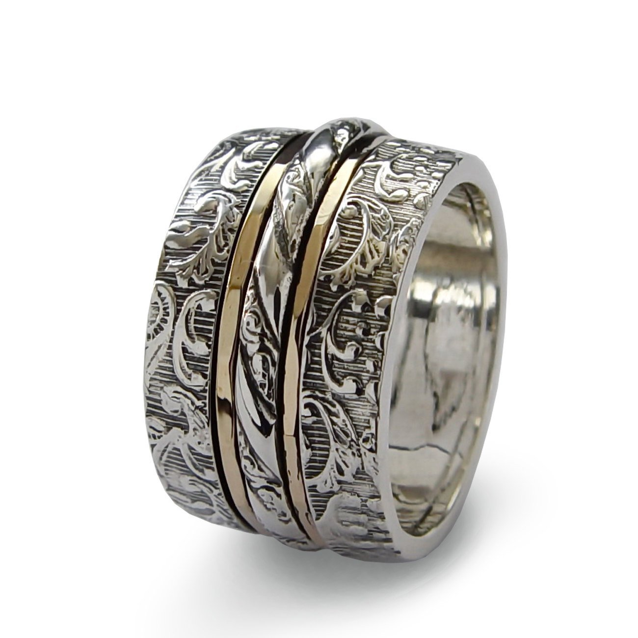 Silver botanical spinner ring, Worry ring Floral silver wide band and gold spinners, recycled metals Gold filled infinity band, wedding band