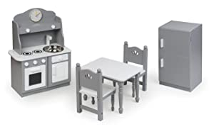 Badger Basket 5 Piece Kitchen Furniture Play Set for 18 Inch (fits American Girl Dolls), Gray/White
