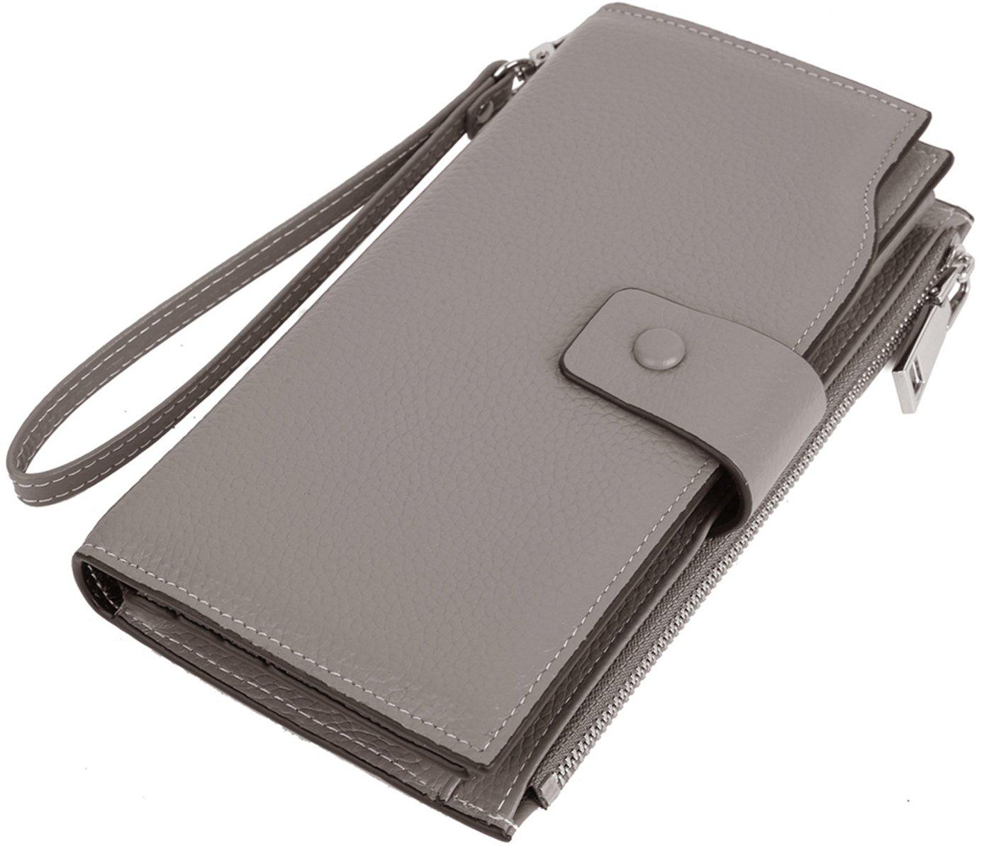 [ヤラックス]Yaluxe レディース RFID ブロッキング 通勤 二つ折り 本革 27枚カード入れ可能 長財布 B0711Q9849 グレー#2152 グレー#2152