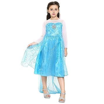 Katara 1008 - Vestido de Princesa Elsa Disfraz Frozen para Niñas 8-9 Años,
