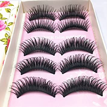 cb98b94fff5 Amazon.com : PIXNOR Natural Soft False Eyelashes Super Thick Long Lashes 5  Pairs : Beauty