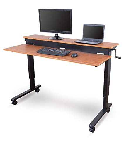 Stand Up Desk Store Crank Adjustable Sit to Stand Up Computer Desk – Heavy Duty Steel Frame, 60 Inches, Black Frame/Teak Top
