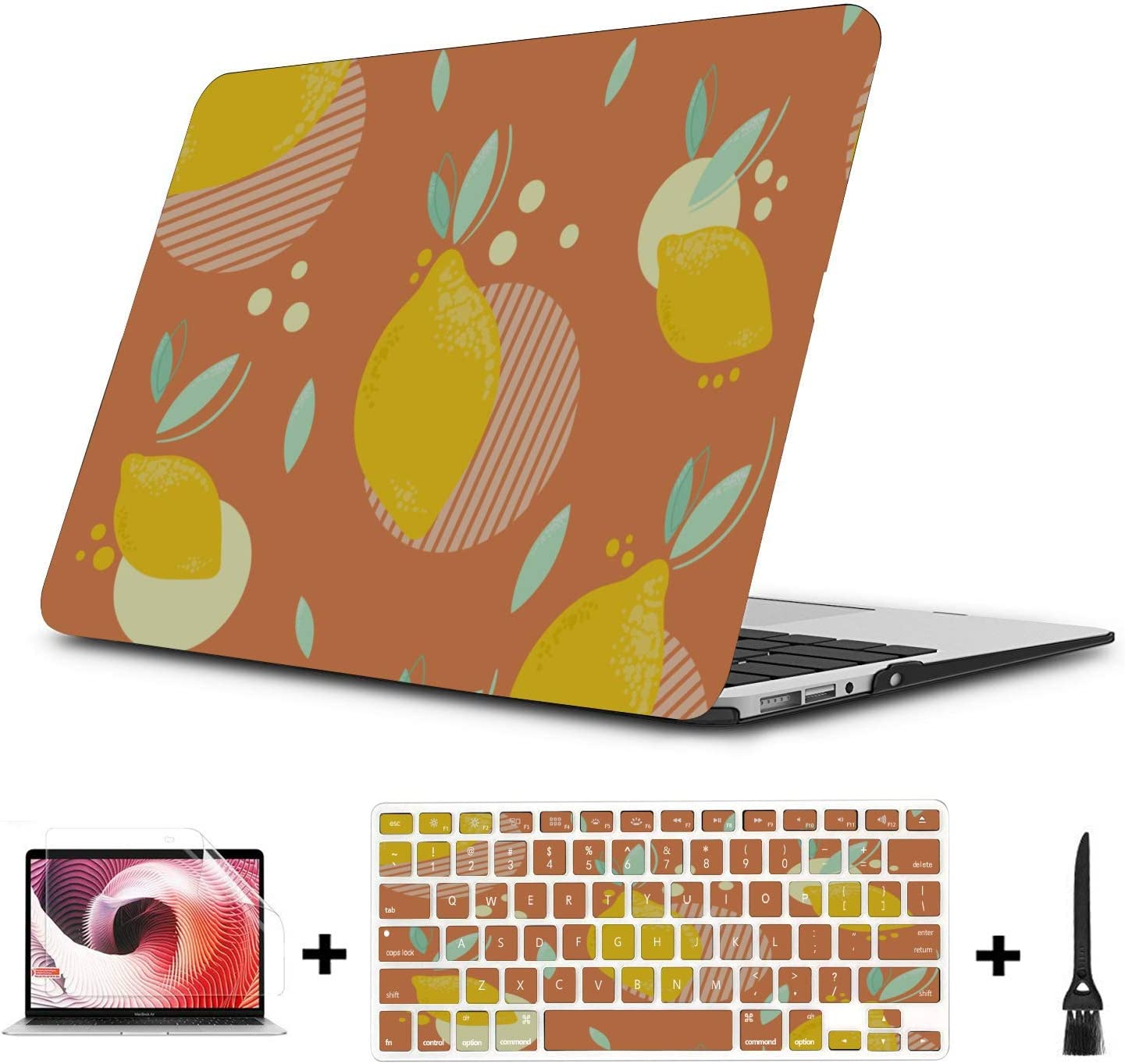 MacBook Pro Covers Summer Sour Retro Cute Fruit Lemon Plastic Hard Shell Compatible Mac Air 11 Pro 13 15 Laptop 13 Inch Case Protection for MacBook 2016-2019 Version