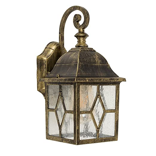 Rustic ip23 rated black and gold brushed metal outdoor wall light rustic ip23 rated black and gold brushed metal outdoor wall light coach lantern with traditional panel aloadofball Gallery