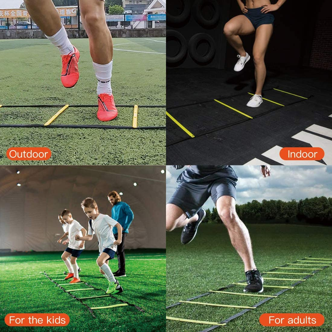 12 Rungs Agility Ladder,12 Disc Cones Agility Training Equipment Adjustable Speed Ladder for Soccer Speed Football Fitness Feet and Home Workouts Training with Free 5ft Resistance Band and Carry Bag