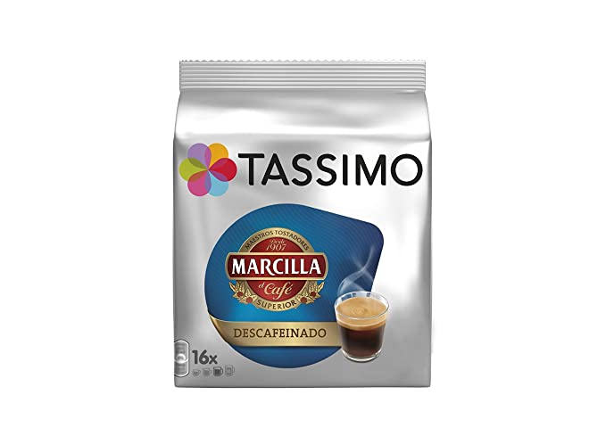 Tassimo Café Marcilla Descafeinado - 80 Cápsulas (T DISCs) compatibles con cafeteras Tassimo Bosch - 5 Paquetes de 16 Unidades