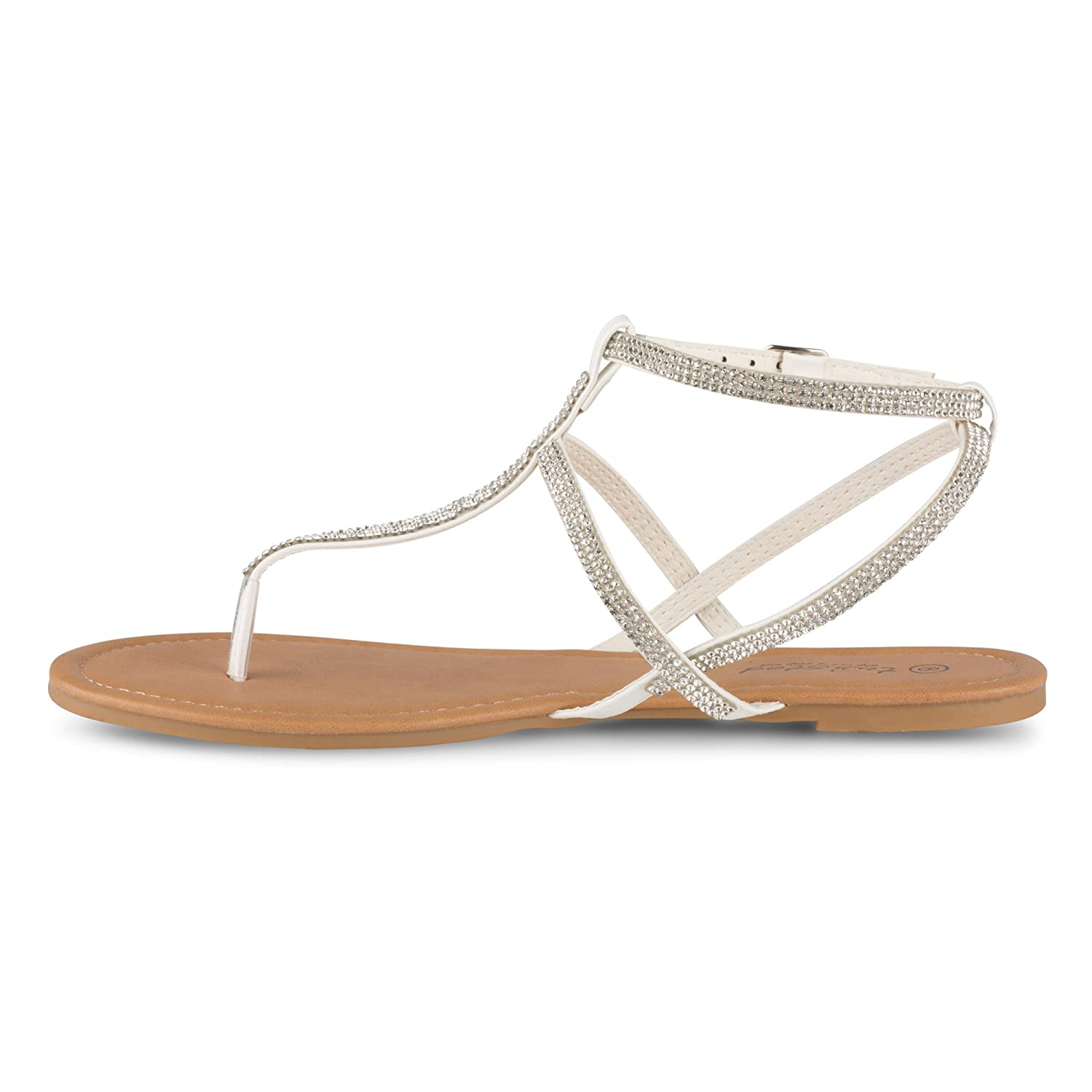 Twisted Womens Daisy Faux Leather Ankle Strap Sandal with Rhinestone Embellishment