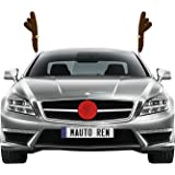 Car Antlers by mAuto, Reindeer Antlers for Car with Plush Reindeer Nose for Car Grille, Reindeer Ears Car Costume for Christmas – Full Set with 2 Antlers and 1 Reindeer Nose
