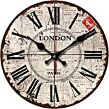 """Grazing 12"""" Vintage Roman Numeral Newspaper Background Design English Shabby Chic Style Wooden Decorative Round Wall Clock (London)"""