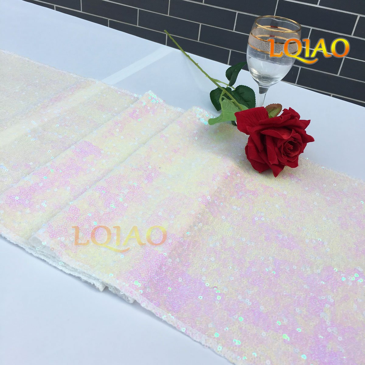 LQIAO Christmas Table Runner Sequin 12x108-in, Changed White, Shiny Fabric Birthday/Wedding/Party Decoration(wholesale Possible), Pack of 20 PCS by LQIAO