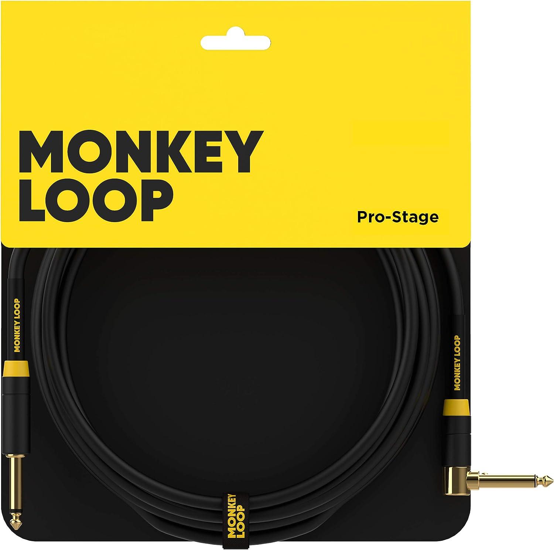 Monkey Loop - Pro Stage Silent Cable - Conectores Jack Mono y Jack Acodado - Longitud 5 m - Diámetro 7 mm - Color Negro - Cable Jack con Diseño de Bajo Ruido - Accesorios para Guitarra
