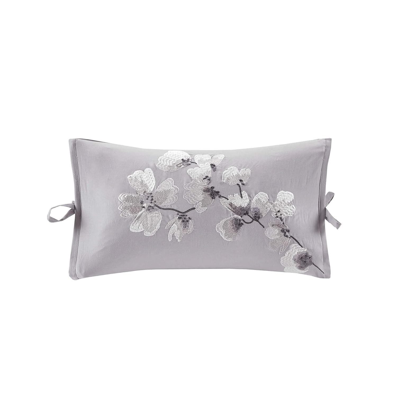 N Natori Sakura Blossom Embroidered Cotton Oblong Decorative Pillow Lilac 12x20