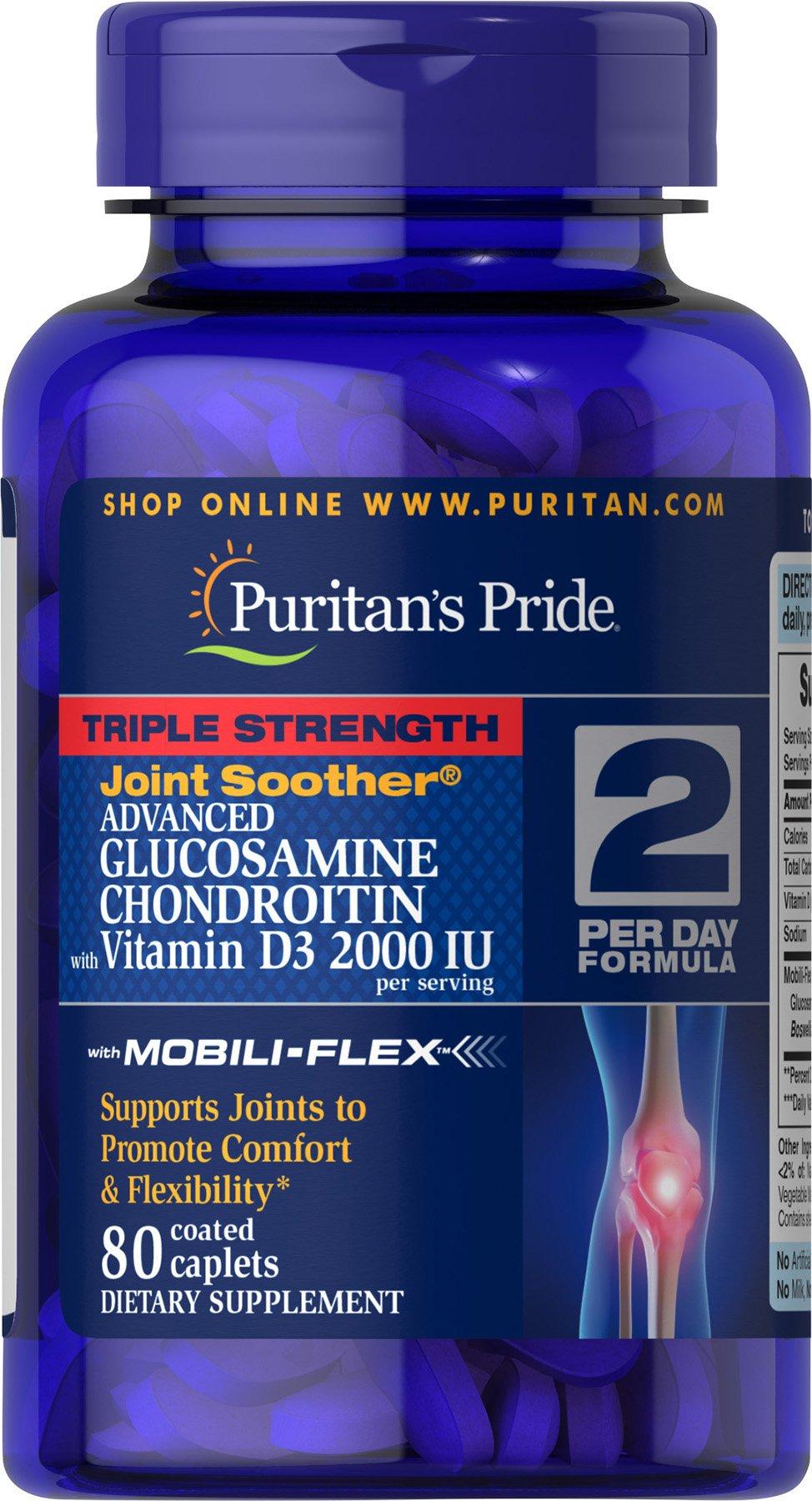 Puritan's Pride Triple Strength Glucosamine Chondroitin with Vitamin D3 and Boswellia Serrata Extract, 2,000IU per serving, 80 Coated Caplets