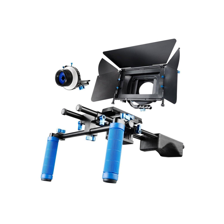 SunSmart Pro DSLRビデオカメラショルダーマウントリグキットIncluding DSLRリグショルダーサポート、フォローフォーカスとマットボックスforとすべてのDSLRビデオカメラDVビデオカメラ  RL-04+F3+M2 B00F1U8OV6