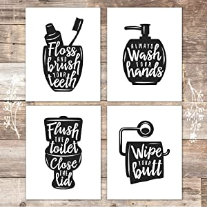 Funny Bathroom Signs (Set of 4) - Unframed - 8x10s | Bathroom Decor Wall Art