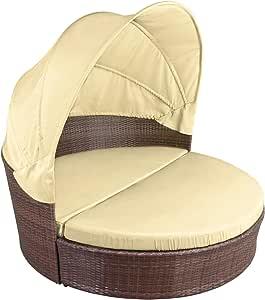 Poliratán Lounge Shell MAURICIO con solarium. Sofá solaruim de ratán con cojines. Sofá chillout Lounge al aire libre para el jardín, Schwarz-Braun meliert / Sandstrand: Amazon.es: Jardín