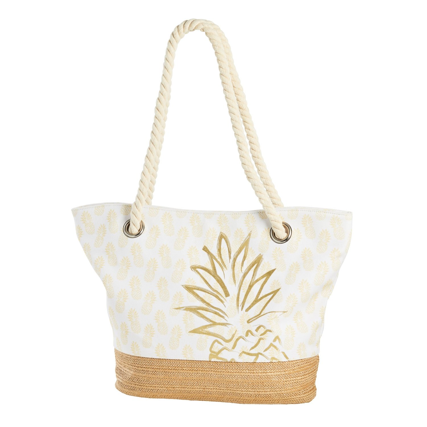 Beachcombers Pineapple White Gold Cotton Rayon Tote Bag Apparel Accessories