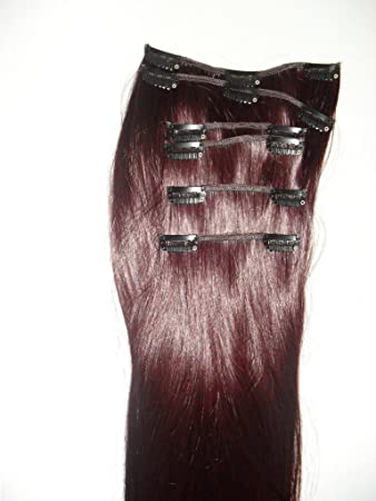 22 inch cherry plum red full clip in hair extensions 6 pieces 22 inch cherry plum red full clip in hair extensions 6 pieces extra pmusecretfo Images