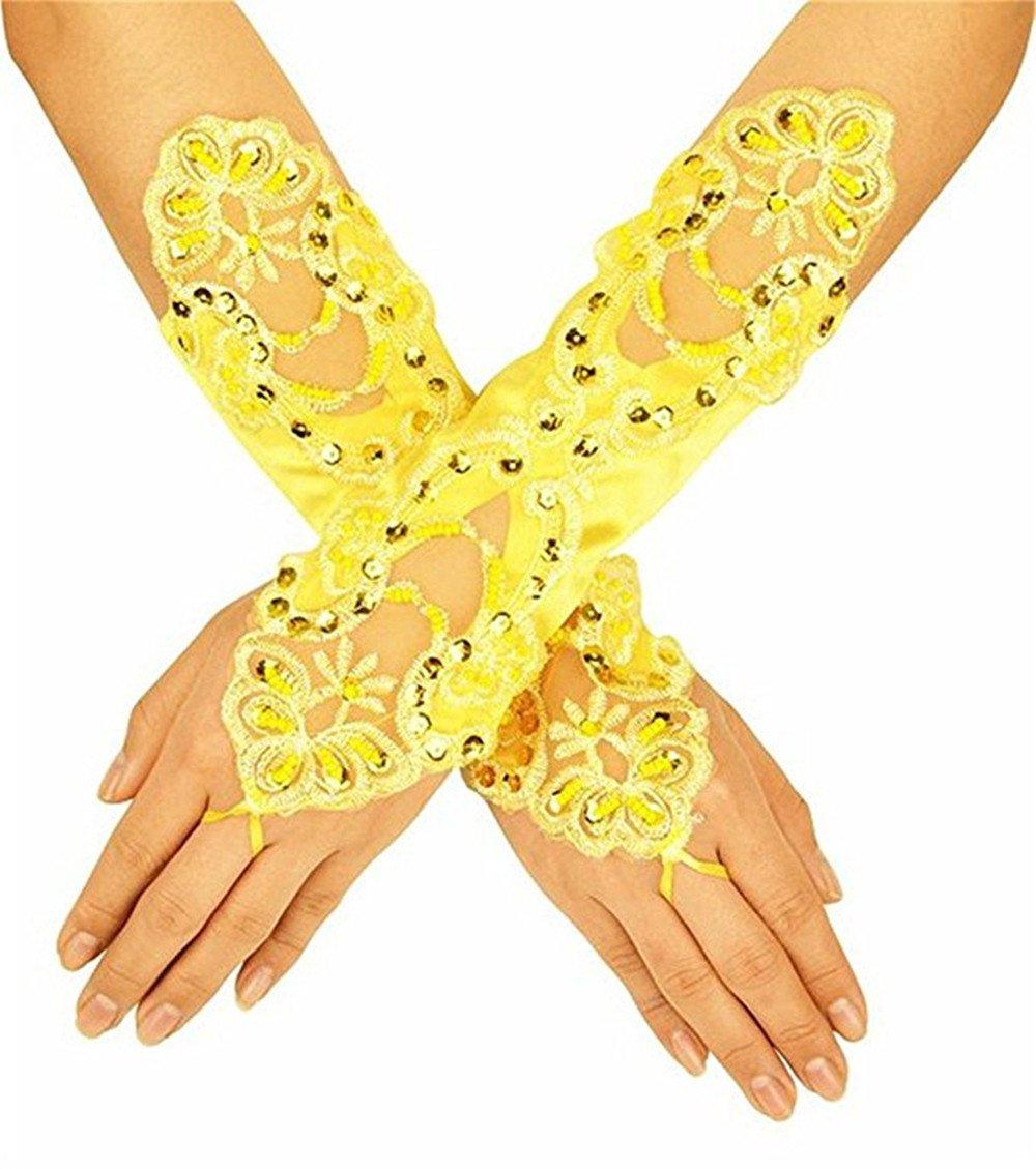 Elegant Women's Long Wedding Dress for Bride Lace Beads Bridal Gloves Wedding Gloves Bright Yellow