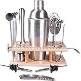 ELIXIR - set di shaker per cocktail da 14 pezzi, circa 709 grammi, in acciaio inossidabile, con piedistallo in legno di faggio, 4 cucchiai lunghi a cannuccia, pestello, misurino doppio, colino, 2 beccucci, cucchiaio per miscelare, apribottiglie, cavatappi, pinze per il ghiaccio