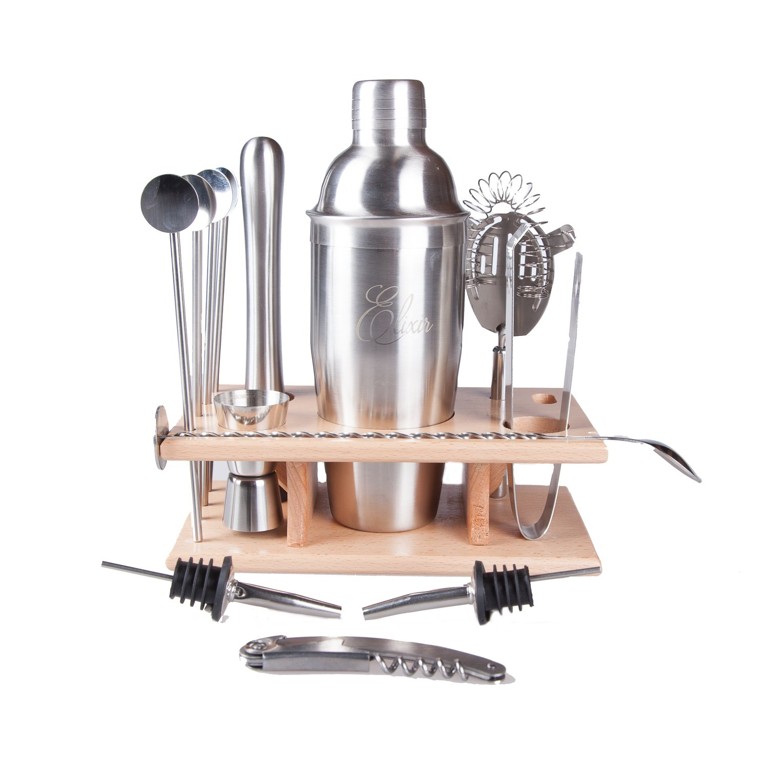14 Piece Cocktail Bar Set 25 Ounce Shaker Stainless Steel With Beech Stand 4 Straw Spoons Muddler Double Sided Jigger Strainer 2 Pourers Mixing Spoon Bottle Opener Corkscrew Ice Tongs Elixir