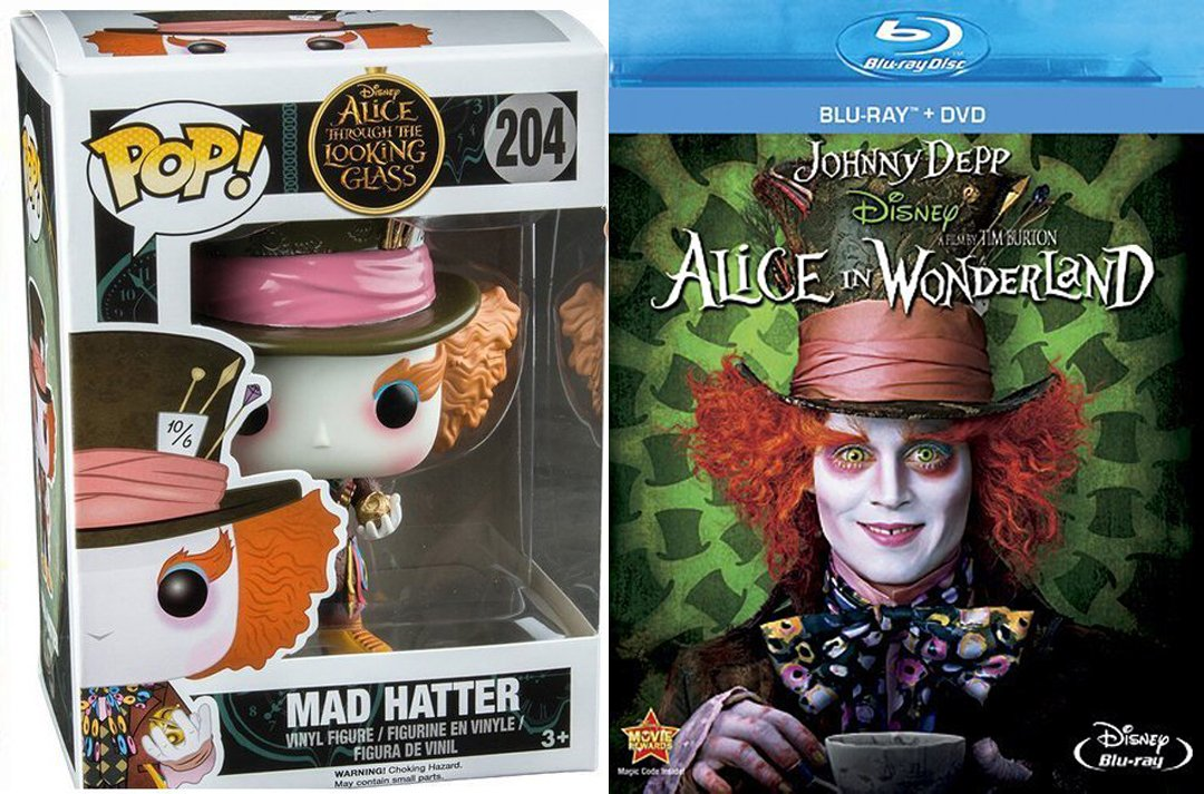 9b74306a1991b Amazon.com  Disney Mad Hatter Alice in Wonderland Tim Burton Blu Ray + DVD    EXLUSIVE Mad Hatter  204 Funko Pop! Figure from Alice through the Looking  ...